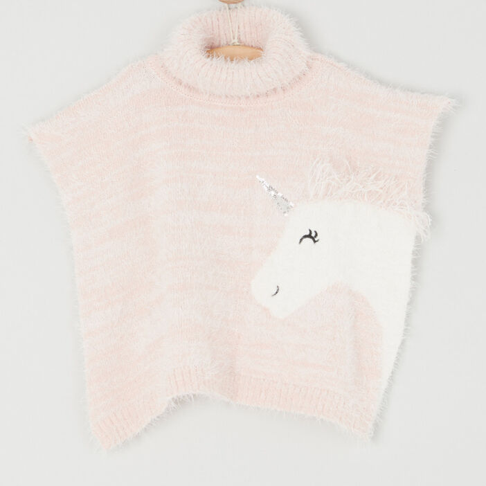 Poncho motif maille duveteuse fille rose clair