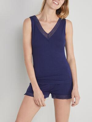 Caraco col V avec dentelle bleu marine femme