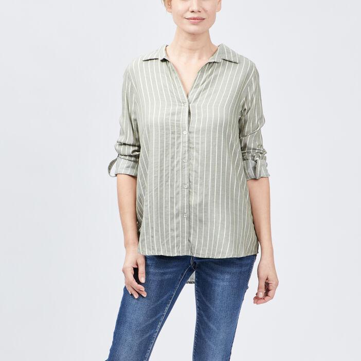 Chemise manches longues femme vert kaki