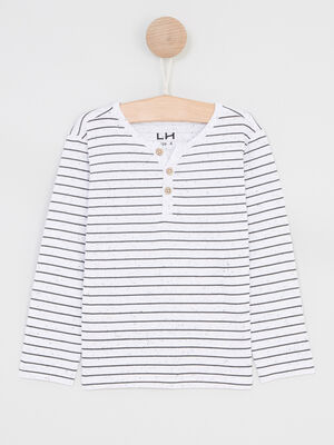 T shirt mariniere coton majoritaire ecru garcon