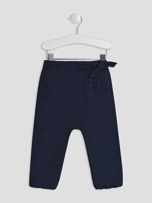 Pantalon droit elastique bleu marine bebef