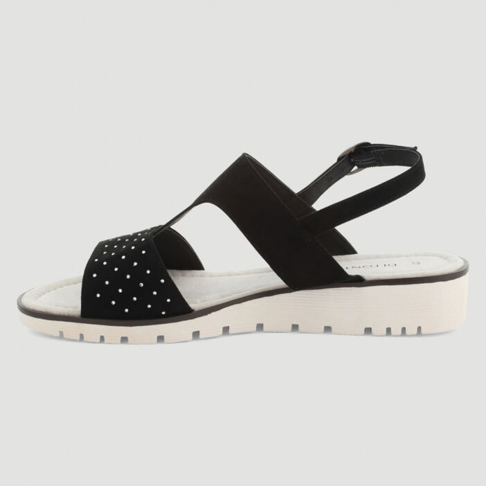 Sandales strass semelle crantée femme noir