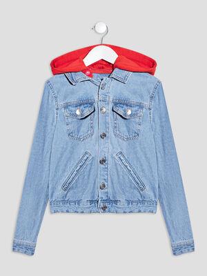 Veste droite en jean a capuche denim double stone fille