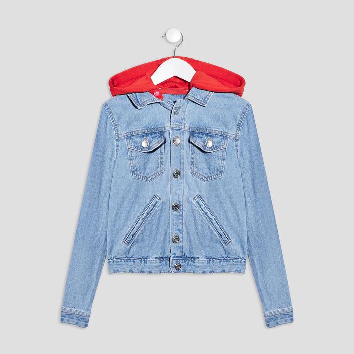 Veste droite en jean à capuche fille denim double stone