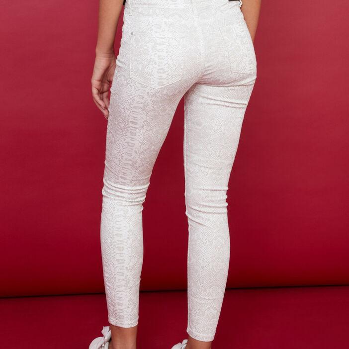 Pantalon à motifs coupe skinny femme beige