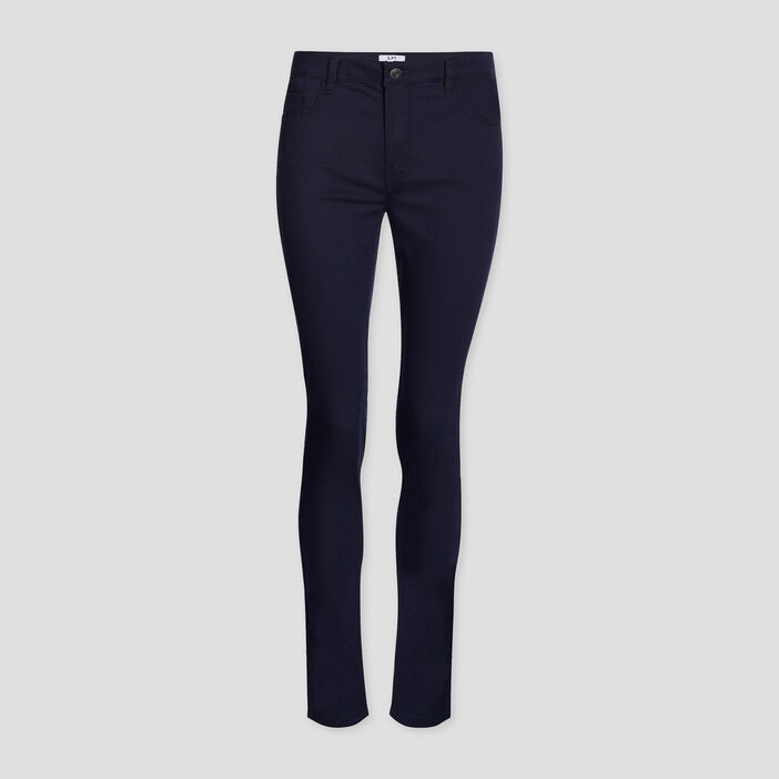 Pantalon skinny taille basse femme bleu marine