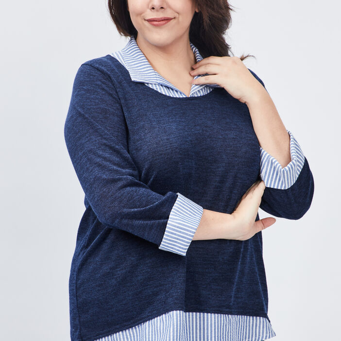 Pull manches 3/4 grande taille femme grande taille bleu marine