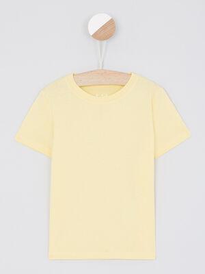 T shirt manches courtes col rond jaune garcon