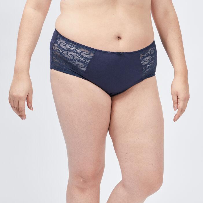 Boxer à dentelle femme grande taille bleu marine