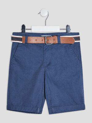 Bermuda droit ceinture bleu gris garcon