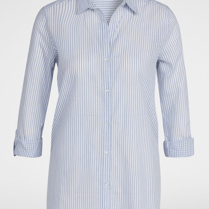 Chemise rayée coton manches ajustables femme bleu