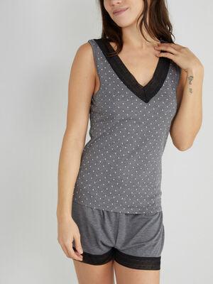 Haut de pyjama a pois gris fonce femme