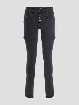 Jeans slim boutonnee denim noir femme