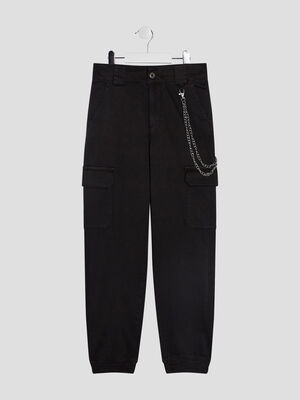 Pantalon battle detail chaine noir fille
