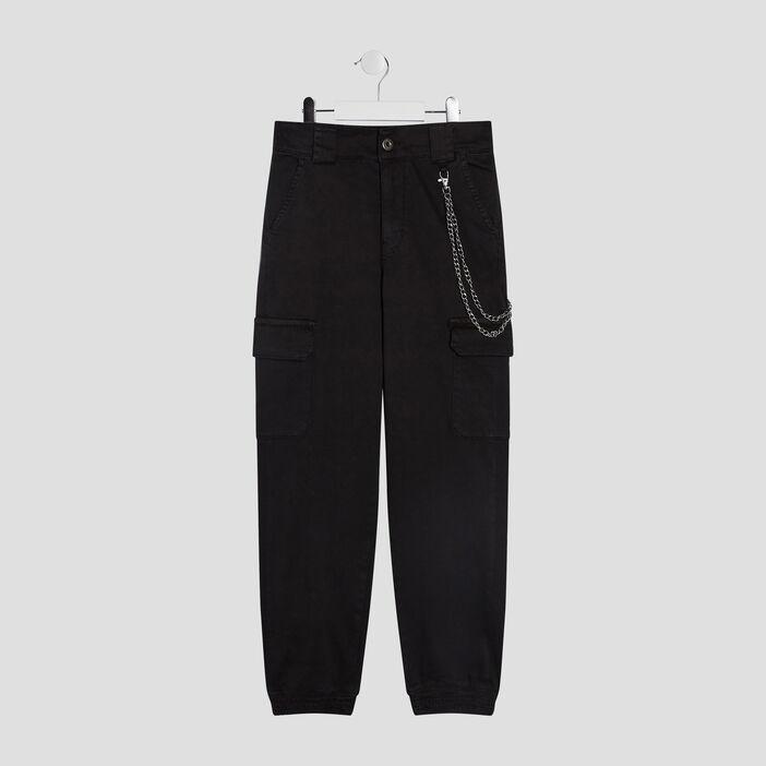 Pantalon battle détail chaîne fille noir