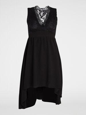 Robe decollete dentelle asymetrique noir femme