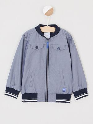 Blouson zippe a multiples poches bleu garcon
