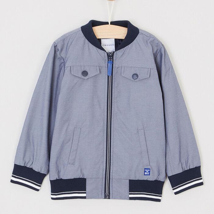 Blouson zippé à multiples poches garçon bleu