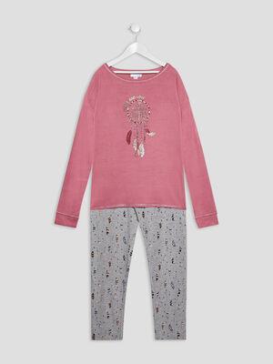 Ensemble pyjama 2 pieces bordeaux fille