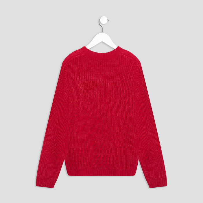 Pull avec col rond fille rouge