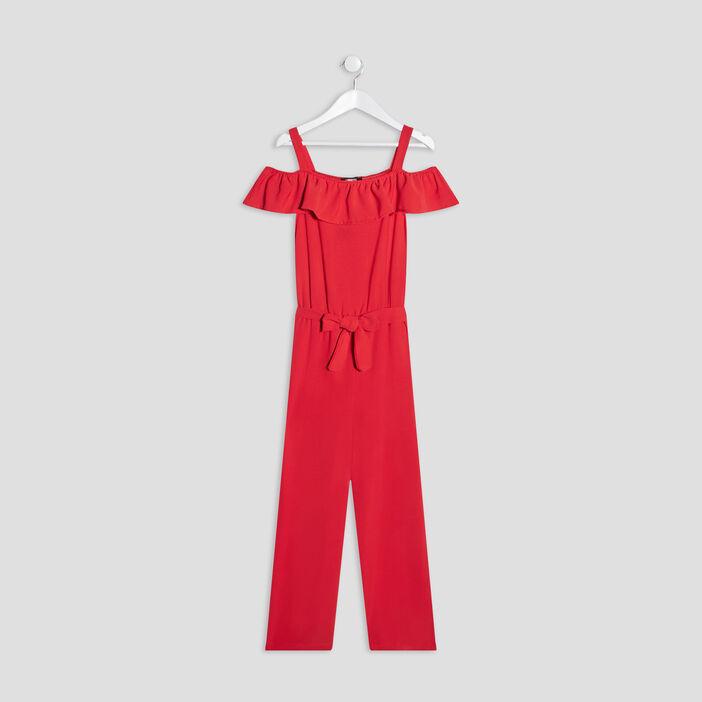 Combinaison pantalon ceinturée fille orange corail