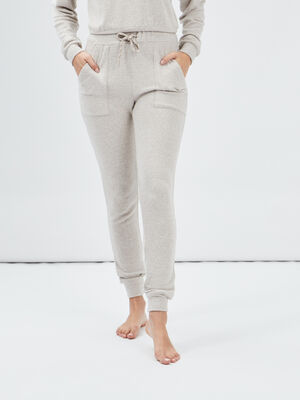 Pantalon de pyjama beige femme