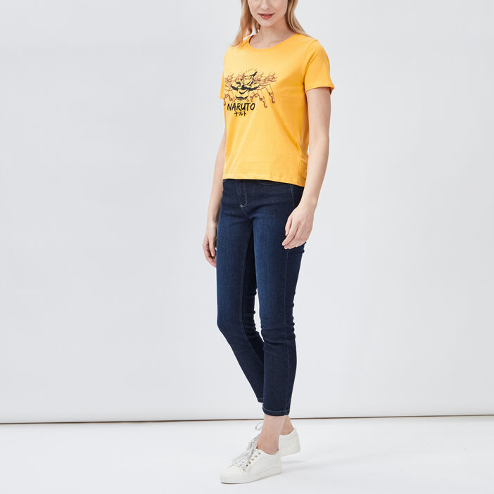 T-shirt manches courtes Naruto femme jaune moutarde