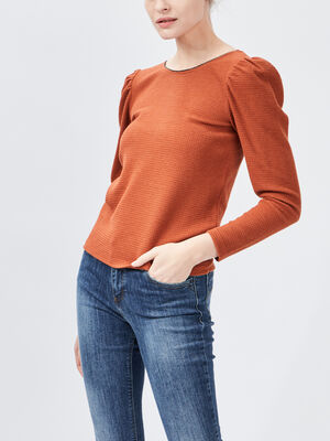T shirt manches longues orange femme