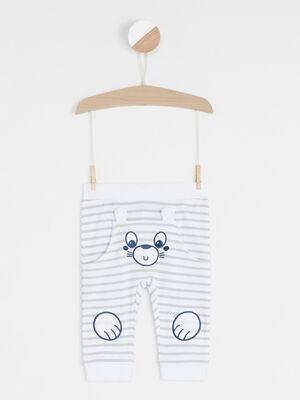 Pantalon empiecements fantaisie genoux gris garcon