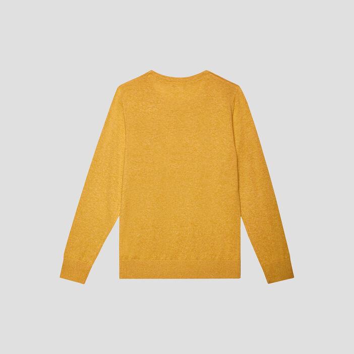 Pull manches longues garçon jaune moutarde