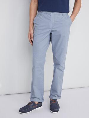 Pantalon droit uni bleu gris homme