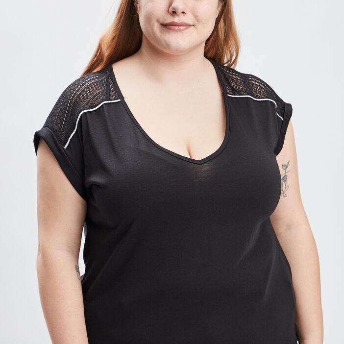 T-shirtmanchescourtesgrandestailles femme grande taille noir