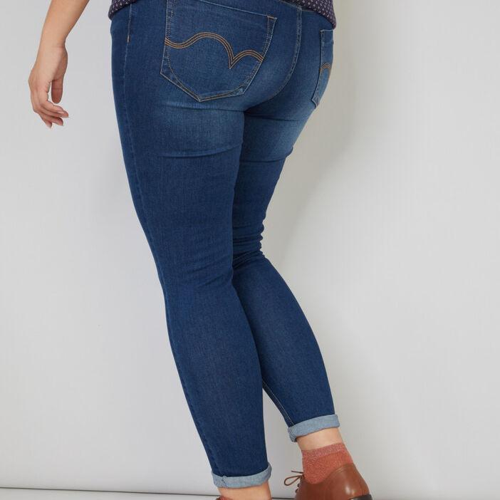 Jeans slim femme grande taille denim brut