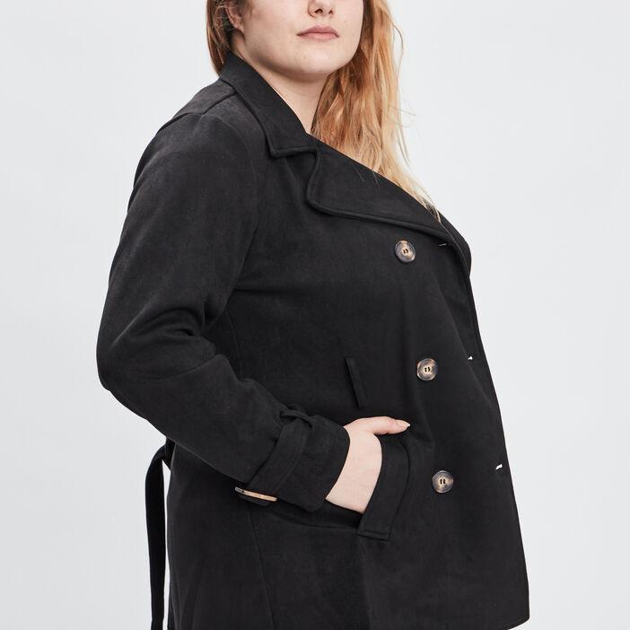 Manteau droit grande taille femme grande taille noir