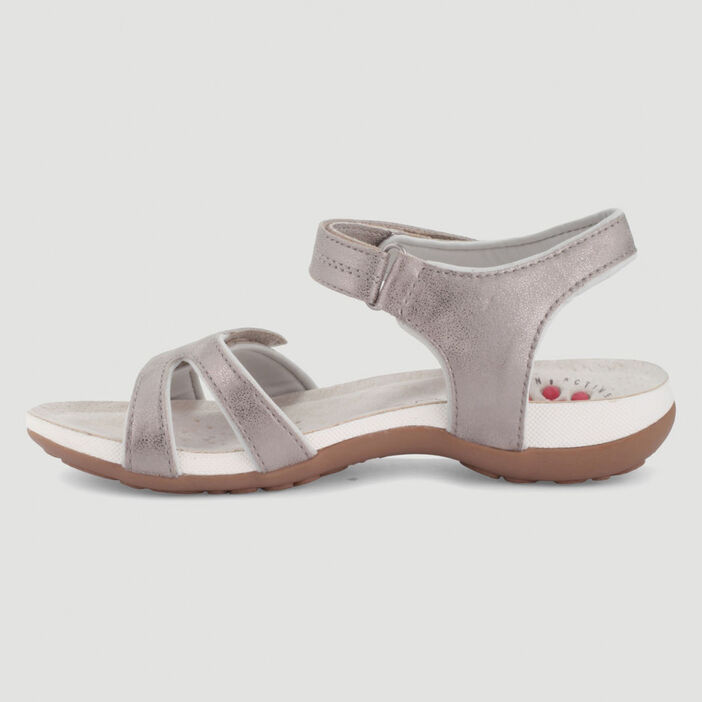Sandales unies ouverture double scratch femme couleur or