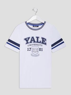 T shirt manches courtes YALE blanc garcon