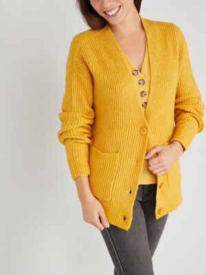 Cardigan mi long poches plaquees jaune moutarde femme