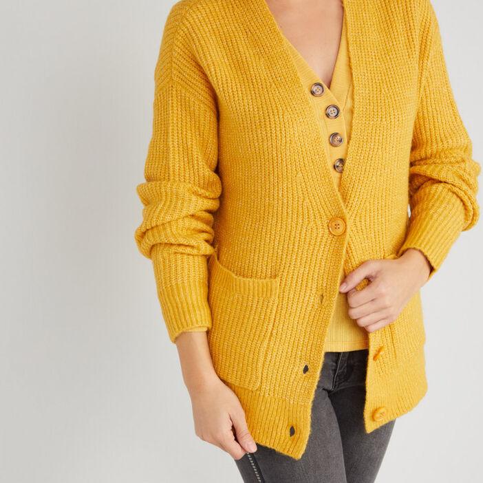 Cardigan mi-long poches plaquées femme jaune moutarde