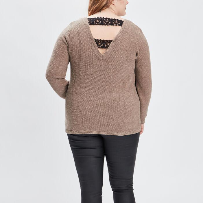 Pull avec détail au dos femme grande taille couleur bronze