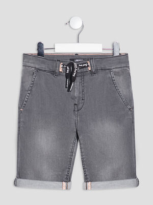 Bermuda droit en jean gris garcon