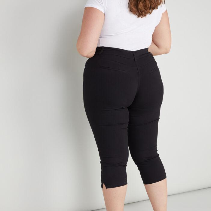 Pantacourt slim grande taille femme grande taille noir