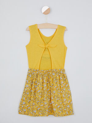 Robe maille jaune moutarde fille