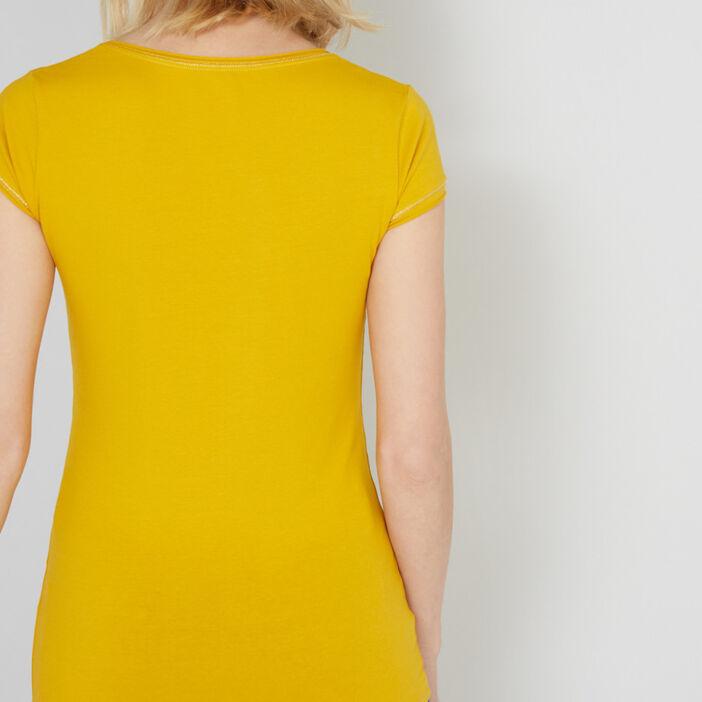 T-shirt avec liseré contrasté femme jaune moutarde