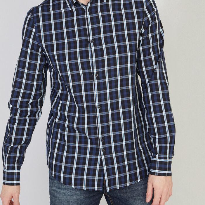 Chemise en coton à carreaux homme bleu marine