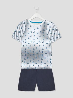 Ensemble pyjama avec short bleu gris garcon