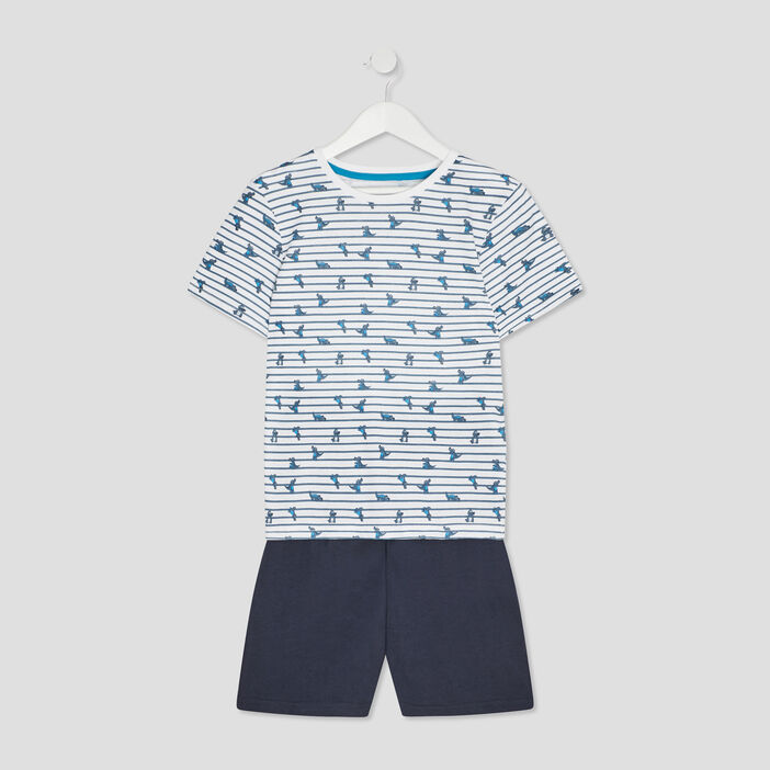 Ensemble pyjama avec short garçon bleu gris