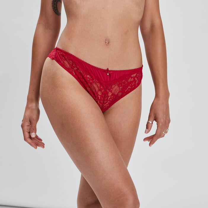 Tanga en dentelle femme rouge