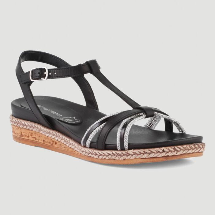 Sandales avec talon compensé femme noir