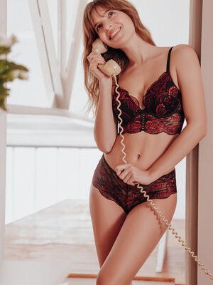 Boxer string en dentelle rouge femme