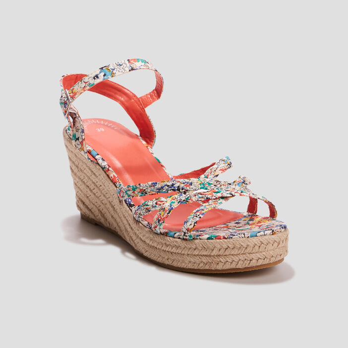 Sandales compensées femme multicolore